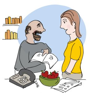 Illustration of two people talking, person on the left is holding book of resources pointing to a page; in the room is a library, phone, bowl of healthy apples and a questionnaire